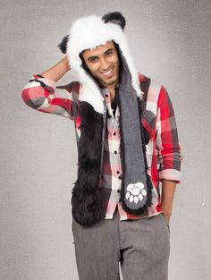 What's Your Spirit Animal? ..... PANDA BEAR (Faux Fur)........... Traits: Balance > Solitude > Strength. Find out more about the #Panda #Spirit #Animal at: https://www.spirithoods.com/adults/mens/panda/723/# $119 #Gifts #Fashion #SpiritHood #SpiritHoods #Men #Hoodie #FauxFur #Paws #Scarf #ProBlue