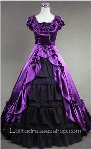 Purple And Black Cotton Square-collar Cap Sleeve Floor-length Pleats Gothic Lolita Dress