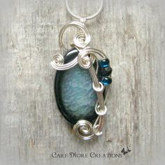 Aqua Dragon Vein Fire Agate Wire Wrapped Pendant in Silver by CareMoreCreations.com, $29.00