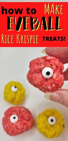 These Eyeball Rice Krispie Treats are the perfect creppy accent to your Halloween party snack table. This recipe is quick, easy, and needs no baking! #nobakedesserts #easydesserts #ricekrispietreats Rice Crispy Treats, Krispie Treats, Rice Krispies, Halloween Party Snacks, Spooky Halloween Decorations, No Bake Desserts, Easy Desserts, Gluten Free Marshmallows, Candy Eyeballs