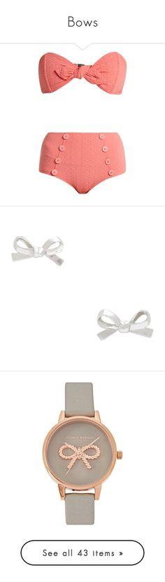"""Bows"" by cafoy ❤ liked on Polyvore featuring swimwear, bikinis, swim, sailor bikini, pink bikini, high waisted two piece, high rise bikini, retro high waisted bikini, jewelry and earrings"