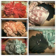 Elastische haarbanden met bloemen. Te bestellen via suzancreatief@hotmail.nl voor 5,-