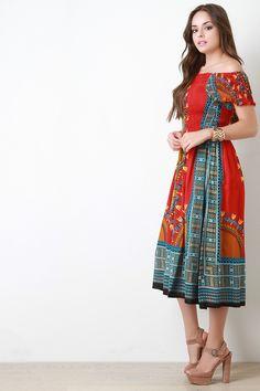 Off The Shoulder Dashiki Print Smocked Midi Dress