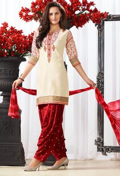Cream And Maroon Pure Cotton Patiala Suit #patiala #suit #cotton #patialasuit Item Code-skblv138 Price-US$48.19