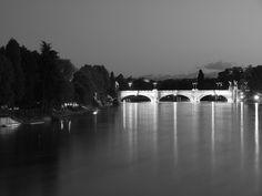 Totino, Italy , Po river and Umberto I bridge, hdr
