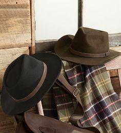 Barbour Crushable Bushman Wool Felt Hat Size M in black/charcoal
