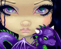 Faces of Faery 142 purple dragonling big eye fairy por strangeling