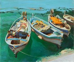 Greek Boats, oil on canvas, 20 x 24 inches  Kim English