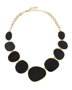 Oval Enamel Station Bib Necklace, Black by Kenneth Jay Lane at Neiman Marcus Last Call.
