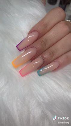 Disney Acrylic Nails, Acrylic Nail Tips, Cute Acrylic Nail Designs, Cute Acrylic Nails, Edgy Nails, Swag Nails, Long Square Acrylic Nails, Nail Drawing, Nail Art Designs Videos