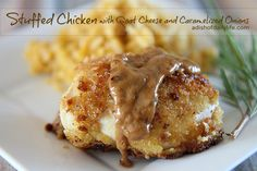 Goat Cheese Stuffed Chicken Breast with Caramelized Onions