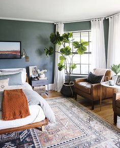 home decor bedroom Green Bedroom Reveal - Little Green Notebook Bedroom Green, Dream Bedroom, Home Bedroom, Green Bedrooms, Green Bedroom Design, Bedroom Furniture, Furniture Sets, Funky Bedroom, Bedroom Modern
