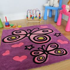 Amazon.com - The Rug House Girl'S Vibrant Purple Pink Butterfly Soft Hearts Area Children'S Rug 90 X 90Cm -