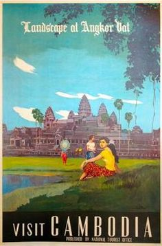 Vintage Poster: Visit Cambodia - Angkor WatArtist: DIM  Origin:JapanArtist:DIMCirca:1950'sBuy It Here: http://www.la-belle-epoque.com/vintage-poster/Travel/690/Visit-Cambodia—-Angkor-WatTo celebrate the summer vacation this week is themed around exotic holiday destinations. Todays poster from the Cambodian national Tourism Office of the 1950s advertises the world famous Angkor Wat. Angkor Wat was built in the 12th century and is the largestKhmer temple complex in the world. Today