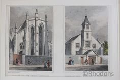 Trinity College Church And Chapel Of Ease St Cuthberts, Edinburgh Early Century steel engraving on paper with later colour tinting. Vintage Prints, Retro Vintage, St Cuthbert, Latest Colour, Edinburgh, 19th Century, Saints, College