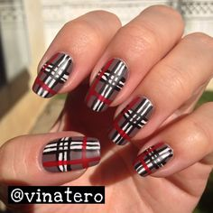 Plaid Nail Art inspired by Hannah Rox Nails awesome YouTube tutorial: http://youtu.be/qs2VDWSGWUA