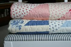 Two lovely quilts from AmandaJean (CrazyMomQuilts). Fabric is Cabbages and Roses (Moda).