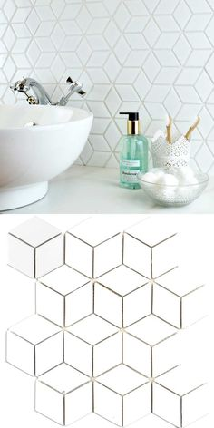 These mosaic tiles consist of diamond-shaped pieces, creating the illusion of hexagons. Hexagon Mosaic Tile, White Mosaic Tiles, Mosaic Glass, Best Bathroom Flooring, Bathroom Floor Tiles, Tile Flooring, Kitchen Tiles, Floors, White Mosaic Bathroom
