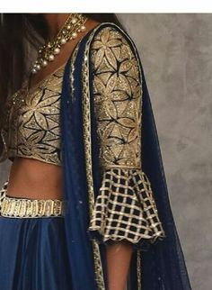 Blue and gold Indian Attire, Indian Wear, Indian Look, Lehenga Designs, Saree Blouse Designs, Indian Wedding Outfits, Indian Outfits, Indian Blouse, Desi Clothes