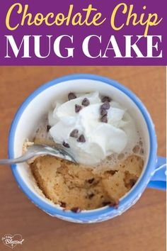This Healthy Chocolate Chip Mug Cake For One Recipe is a delicious low-calorie dessert that you can make in just a few minutes! #healthydessert #mugcake