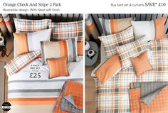 2 Pack Orange and Grey Check Bedset