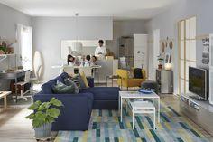 VIMLE 3-zitsbank met chaise longue   IKEA IKEAnl IKEAnederland inspiratie wooninspiratie interieur wooninterieur bank zitbank nieuw kamer woonkamer sofa modulair veelzijdig opbergen opberger persoonlijk zwartblauw blauw KRÖNGE vloerkleed