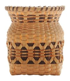 Fine Miniature Cherokee Burden Basket made by Elsie Watty, white oak with curls, walnut and bloodroot dyes, 4 x 3-1/4 x 3-1/4 in., with Qualla Arts & Crafts Mutual tag