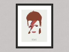 David Bowie - Minimal Iconic 8 x 10 Digital Art Print, Wall Poster Graphic Aladdin Sane