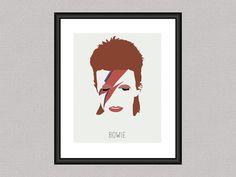 David Bowie - Minimal Iconic 8 x 10 Digital Art Print, Wall Poster Graphic Aladdin Sane