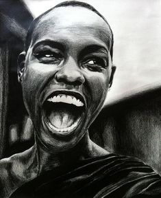 black and white colored pencil drawing: