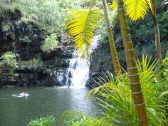 Water fall in Oahu near Waimeia bay.