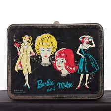 VINTAGE 1962 BARBIE & MIDGE METAL LUNCHBOX MATTEL