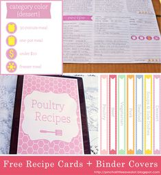 Pinch A Little Save-A-Lot: Recipe Binders & Magnetic Menu Planner - Part 1 (Printable Recipe Cards) Printable Recipe Cards, Printable Planner, Free Printables, Free Planner, Printable Templates, Planner Ideas, Binder Organization, Recipe Organization, Organizing Labels