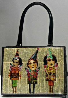 Tumble Fish Trio  upcycled purse handbag funky by autumnsensation, $20.00