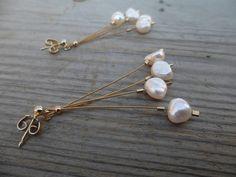Pearl  earrings Dangle earrings Dainty earrings by Amoreecolore, $22.00