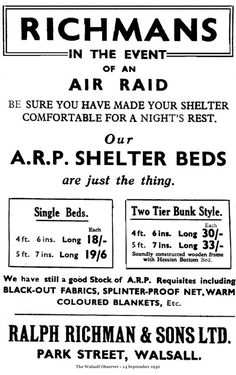 Air raid shelter beds, 1940