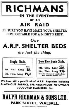Air raid shelter beds, 1940