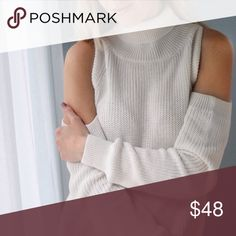 BACK IN! Hudson Sweater ◽️The Hudson Sweater is a gorgeous and comfy cold shoulder knit. So stylish! I've been looking for this exact sweater! Classic Ivory color, loose fit and longer length. Cotton and acrylic, soft material that will keep you cozy this season! ☕️  This is the same material and fit as my previously sold out Chelsea sweater! 🌟  ▫️Sizes:  L ▫️I am modeling size S and am 112 lb ▫️Price is firm 📷 Photos are my own Sweaters Cowl & Turtlenecks