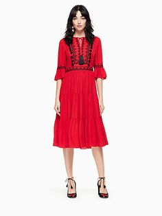 Kate Spade Pom Embroidered Midi Dress, Charm Red - Size 14