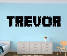 Personalized name decal - Minecraft My Name decal - minecraft inspired decor (unofficial) - Gamer Name decal - Removable Wall Vinyl sticker