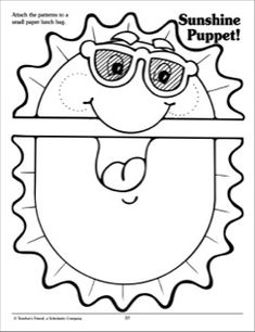 Attach this sunny pattern to a paper lunch bag for a fun and easy summertime puppet.
