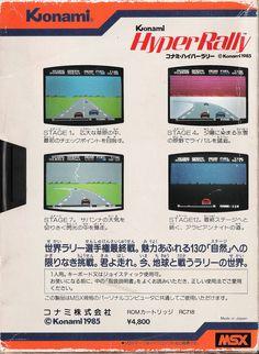 Hyper Rally by Konami for MSX. Backcover.