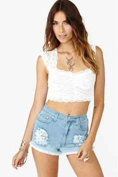 Scalloped Lace Crop Top in White