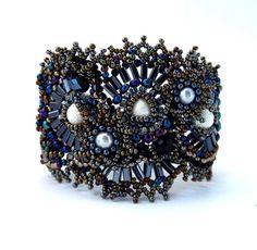 Black and Blue Freeform freestyle Seed Beads Bracelet, beaded cuff bracelet, beadwork, ooak. 98.00