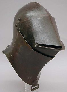 Tournament Helm, ca. Possibly Italian or French. The Metropolitan Museum of Art, New York. sneeking suspicion it is a repurposed bascinet from earlier date Dark Fantasy, Fantasy Armor, Medieval Fantasy, Medieval Helmets, Medieval Weapons, Helmet Armor, Arm Armor, Types Of Armor, Ancient Armor