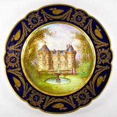 Antique French c.1804-1809. Sevres Hand Painted Cabinet Plate, Napoleon Chateau Le Lude