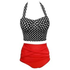 Women's Women Pinup Girl Rockabilly Polka Vintage High Waist Bikini... ($9.99) ❤ liked on Polyvore featuring swimwear, bikinis, black, pin up bathing suits, high rise bikini, vintage bathing suits, high waist bikini swimsuit and high waisted bikini