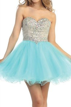 Short turquoise prom dress with silver bodice, from Xcite Prom by ...