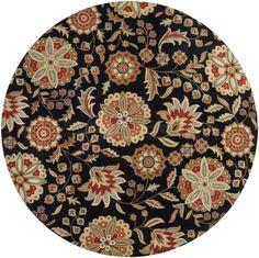 Athena Floral Black/Russet Round Area Rug