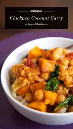 Slow Cooker Chickpea Coconut Curry — Under 400 Calories! #score